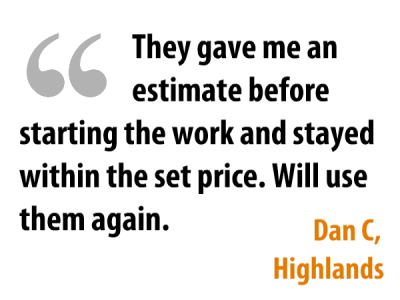Testimonial for accurate estimate for handyman work in Highlands, Louisville